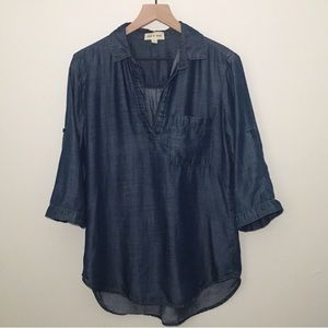 Cloth & Stone chambray popover blouse